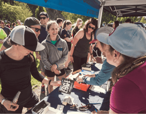 Runners registering for an event