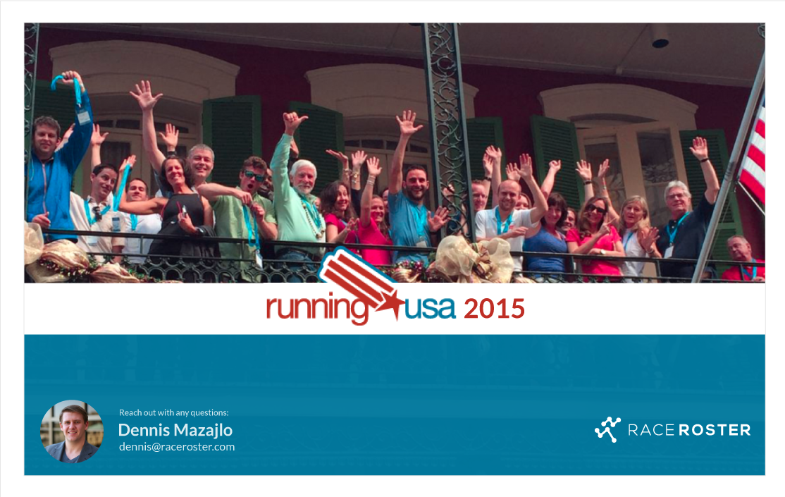Running USA logo with photo of people waving