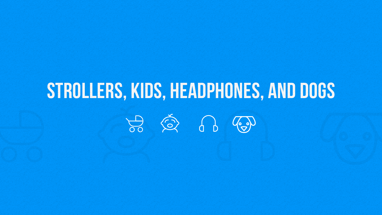Stroller, baby, headphones and dog icons