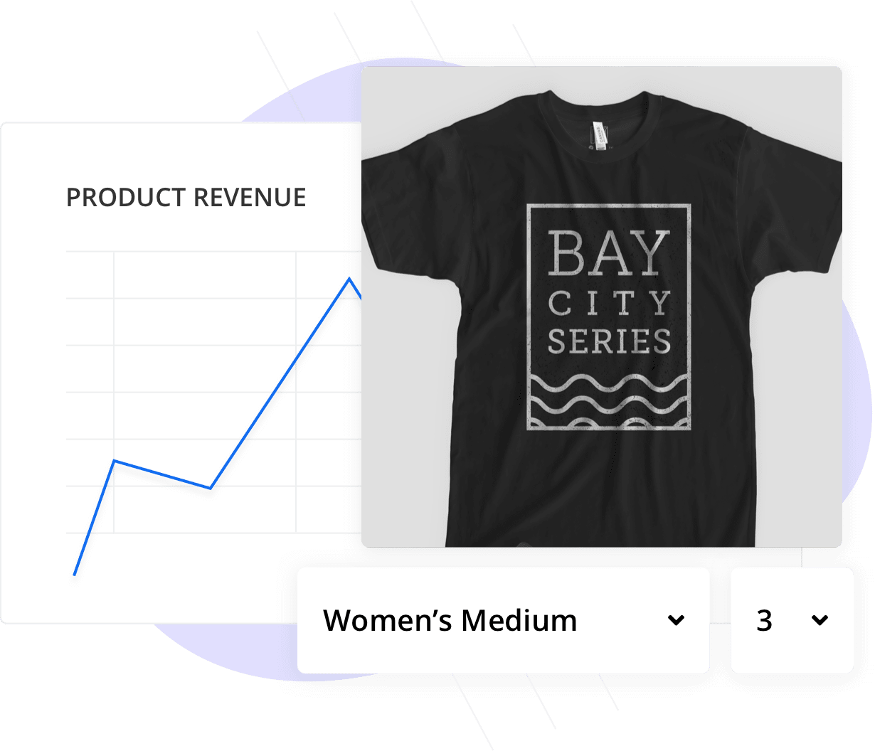 Product revenue chart and image of branded t-shirt