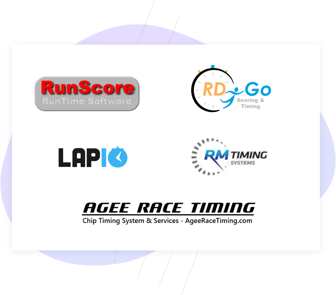 Timing integration logos: RunScore, RD Go, Lap 10, RM timing, and Agee Race Timing